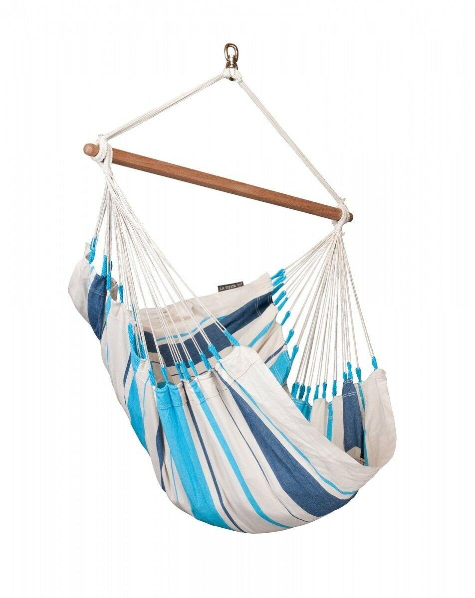 Basic hangstoel katoen - Caribeña Aqua Blue - LA SIESTA (CIC14-3)