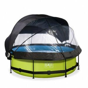 EXIT Lime Zwembad ø300x76cm met Overkapping, Schaduwdoek en Filterpomp - Groen 30.36.10.40