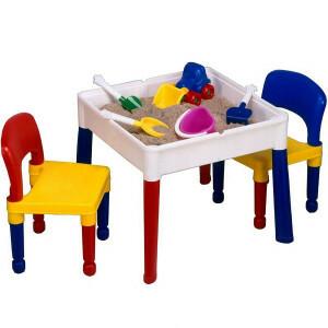 5-in-1 multifunctionele vierkante activiteitentafel en 2 stoelen (698)