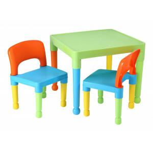 Kinder multi-gekleurde tafel en 2 stoelen Set (8809UN)