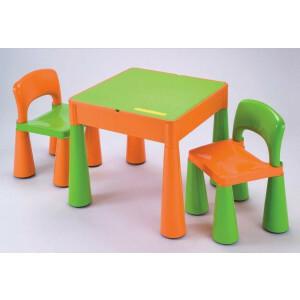 5 in 1 multifunctionele activiteitentafel en 2 stoelen - oranje en groen