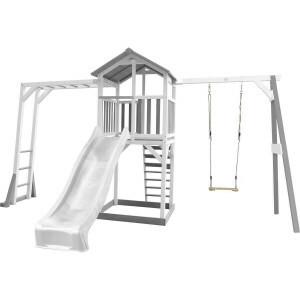Axi Beach Tower Speeltoestel met Klimrek En Enkele Schommel Grijs/Wit - Witte Glijbaan