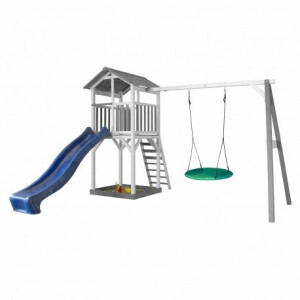 Axi Beach Tower Speeltoren met Summer Nestschommel Grijs / Wit - Blauwe Glijbaan