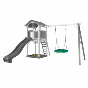 Axi Beach Tower Speeltoren met Summer Nestschommel Grijs / Wit - Grijze Glijbaan