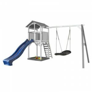 Axi Beach Tower Speeltoren met Roxy Nestschommel Grijs / Wit - Blauwe Glijbaan A025.124.32