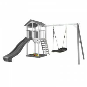 Axi Beach Tower Speeltoren met Roxy Nestschommel Grijs / Wit - Grijze Glijbaan