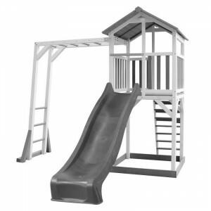 Axi Beach Tower Speeltoren met Klimrek Grijs / Wit - Grijze Glijbaan A025.130.82
