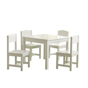 Set Farmhouse Tafel en 4 Stoelen Wit - Kidkraft (21455)