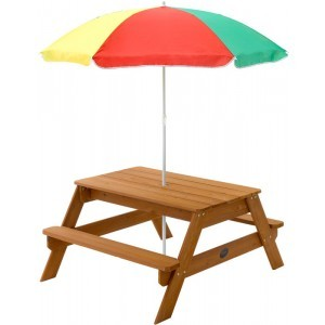 Houten picknicktafel met parasol - Plum (7092071)