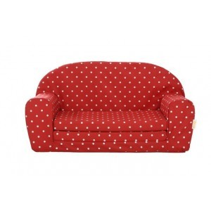 Uitklapbare Mini sofa (rood met witte stippen) - Gepetto (05.07.04.03)