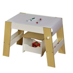 Speeltafel en Kruk Voor Kinderen - Wit en Naturel