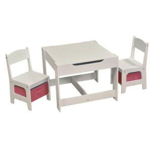 Witte Tafel en Stoelen Set Met Roze Bakken