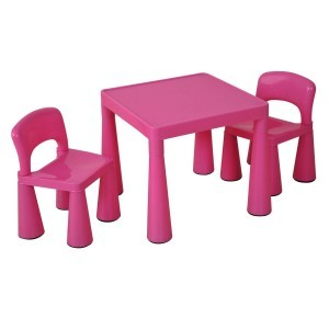 Roze kindertafel en -stoelen set (SM004P)