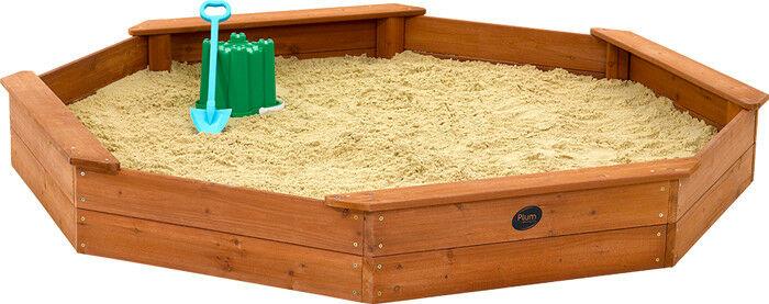 Grote octogonale/achthoekige houten zandbak - Plum