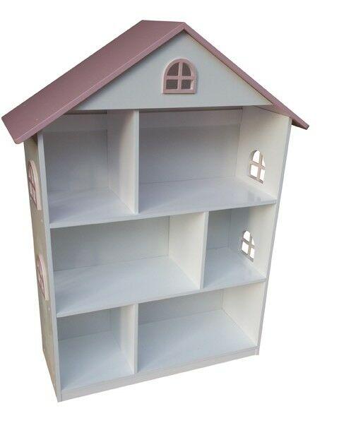 Witte poppenhuis boekenkast met roze dak (LHT10101) | Per Sempre Toys