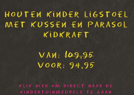Houten kinder ligstoel - Chaise Longue - met kussen en parasol Kidkraft